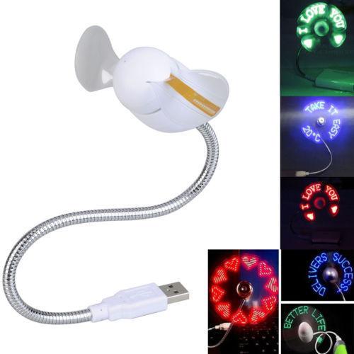 Φορητός ανεμιστήρας USB με LED απεικόνιση κειμένου